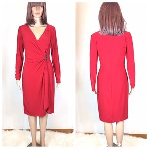 American Living Red Faux Wrap Dress